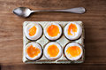 Half a dozen soft boiled eggs. Royalty Free Stock Photo