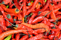 Half dryed red pepper stacking for selling in super market shown as original and raw vegetable or agriculture concept Stock Photo