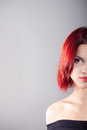 Half face beautiful girl with red hair Royalty Free Stock Photo