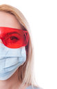 Half face of dentist woman doctor on white copy space Royalty Free Stock Photo