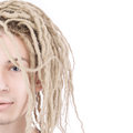 Half face of young adult man with dreadlocks Royalty Free Stock Photo