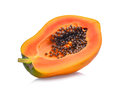 Half of fresh papaya isolated on white Royalty Free Stock Photo
