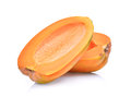 Half of fresh papaya seedless isolated on white Royalty Free Stock Photo