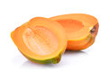 Half of fresh papaya seedless  on white Royalty Free Stock Photo