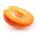 Half of fruit of apricot isolated on white Royalty Free Stock Photo