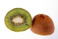 Half fruit of green kiwi isolated on white background