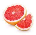 Half grapefruit citrus fruit with slice isolated on white Royalty Free Stock Photo