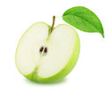 Half of Green Apple with Leaf Isolated on White Background Royalty Free Stock Photo