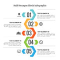 Half hexagon block infographic vector illustration of design element Royalty Free Stock Photo