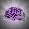 Half labyrinth sphere with binary code and flare illustration Royalty Free Stock Photos