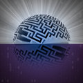 Half labyrinth sphere with water reflection illustration Royalty Free Stock Photography