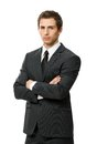 Half length portrait of business man with crossed arms businessman hands isolated concept leadership and success Royalty Free Stock Image