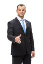 Half length portrait of business man handshake gesturing isolated concept leadership and success Stock Photos