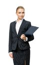 Half length portrait of business woman with folder handing black isolated on white concept leadership and success Stock Images
