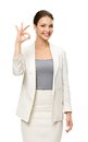 Half length portrait of business woman ok gesturing isolated on white concept leadership and success Stock Images