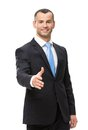 Half length portrait of businessman handshake gesturing hand shake isolated on white Royalty Free Stock Photos