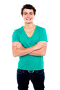 Half length portrait of stylish casual young guy Royalty Free Stock Photo