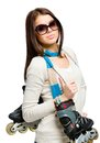Half length portrait of teen keeping roller skates teenager handing and wearing colored scarf and sunglasses isolated on white Stock Photography