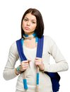 Half length portrait of teenager with blue rucksack wearing and colored scarf isolated on white Stock Image