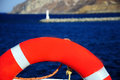 orange lifering - life preserver Royalty Free Stock Photo