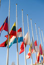Half-mast flags of all the European Union after Paris Royalty Free Stock Photo