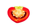 Half mini pepper red isolated on white background Royalty Free Stock Photos