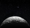 Half moon surface and starry space Royalty Free Stock Photo