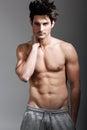 Half naked sexy body of muscular athletic man portrait studio shot Royalty Free Stock Photo