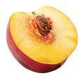 Half of nectarine isolated on the white background Royalty Free Stock Photo