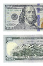 Half of new hundred dollars bill left face back Stock Photos