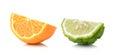 Half orange fruit and bergamot white background fresh and juicy on Royalty Free Stock Image