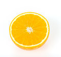 Half orange fruit on white Royalty Free Stock Images