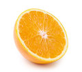 Half orange fruit on white background fresh and juicy isolated Stock Photo