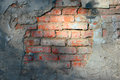Half plastered brick wall copy space Stock Photography