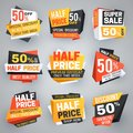 Half price sale tags. Special weekend offer discount, 50 off sale banners and coupons vector collection