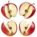 Half of red apple collection clipping path set fruits on white Royalty Free Stock Images