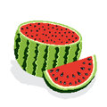 Half of red ripe sweet watermelon and slice of juicy watermelon isolated on white background. In style of pixel graphics
