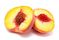 Half of ripe peach isolated Stock Photos