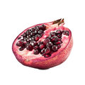 Half of a ripe pomegranate isolated on white background Royalty Free Stock Photos