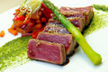 Half-roasted tuna with stewed vegetables Royalty Free Stock Photography