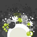 Half round banner with spring nature vector illustration Stock Photography