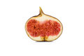 Half sliced fig on white Royalty Free Stock Photo