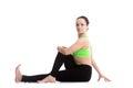 Half Spinal Twist yoga pose Royalty Free Stock Photo