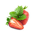 Half and a strawberry with sheet isolated Stock Photo