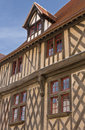 Half timbered building chartres france outside wall face of a medieval in Stock Photos