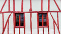 Half timbered house detail white and red Stock Photography