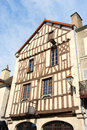 Half timbered house in french noyers facade of old burgundy village Royalty Free Stock Photography