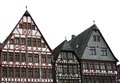 Half timbered house houses at the roemerberg in the historic center of frankfurt Royalty Free Stock Photos