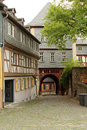 Half timbered houses in frankfurt am main historical buildings and architecture of germany old town hoechst with its Royalty Free Stock Image