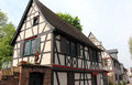 Half timbered houses in germany medieval street with old eltville hesse Royalty Free Stock Photography